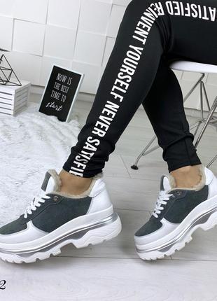 Кожаные замшевые зимние кроссовки в стиле balenciaga. 36-403