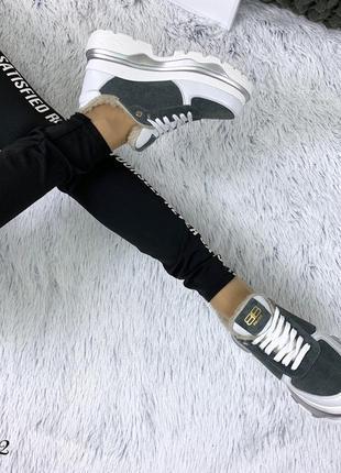 Кожаные замшевые зимние кроссовки в стиле balenciaga. 36-405