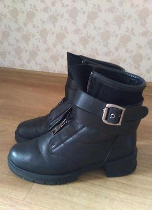 Зимние, кожаные ботинки1