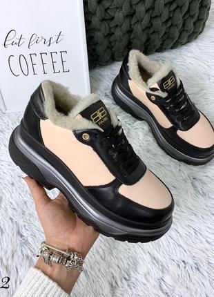 Кожаные зимние кроссовки в стиле balenciaga. 36-401