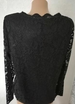 Красивая чёрная кружевная блуза с рукавом3