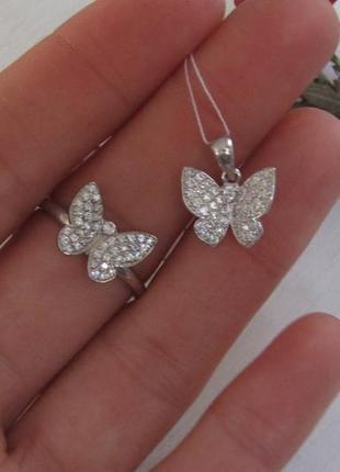 Серебряный гарнитур бабочка  кольцо + подвеска4