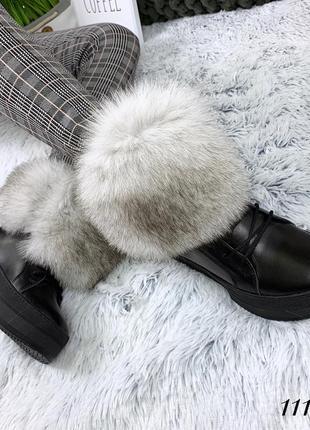 Кожаные зимние сапоги ботинки на макси подошве с роскошной опушкой из песца. 36-405