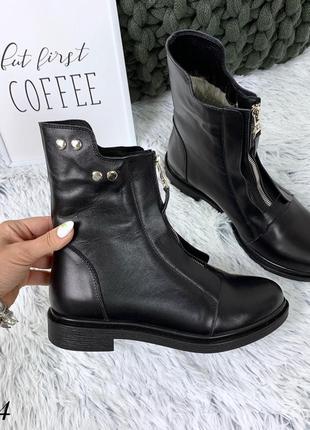 Кожаные зимние сапоги ботинки с щаклепками и молнией спереди. 36-402