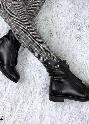 Кожаные зимние сапоги ботинки с щаклепками и молнией спереди. 36-403