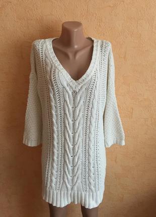 Белоснежное вязаное платье3