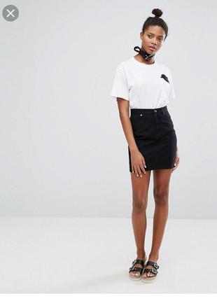 Черная джинсовая юбка1