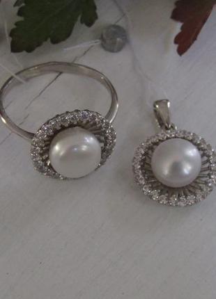 Серебряный набор жемчуг кольцо + подвес2