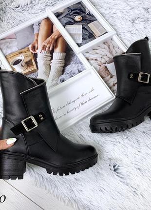 Кожаные зимние ботинки на среднем каблуке с пряжкой. 36-403