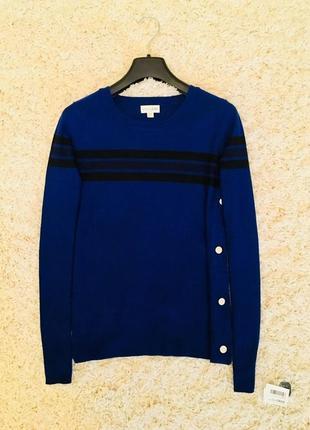 Свитер синий теплый зимний шерстяной с полосками maison jules оригинал зима шерсть1