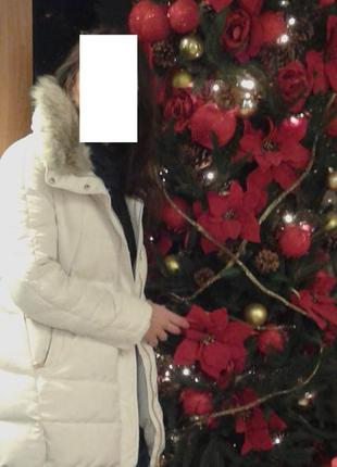 Фирменный пуховик zara оверсайз зима светлый5