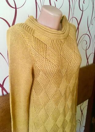 Тёплое вязаное платье горчичного цвета5