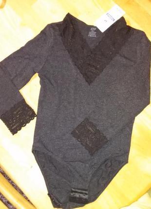 Термобелье боди женское s-xl , длинный рукав, кружево 30% шерсть2