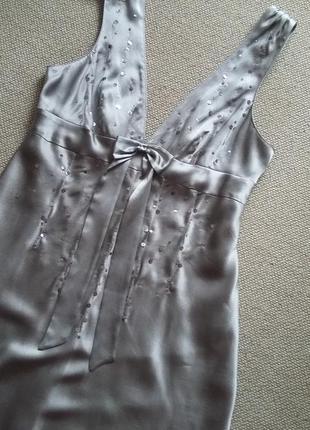 Шелк100% красивое платье длинное в пол состояние нового р 12-145