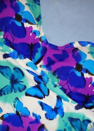 Верх от купальника танкини раздельного топ майка лиф чашка 75 в с бабочки синий фиолетовый5