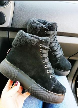 Новинка теплющие натуральные кожаные зимние ботинки кеды 36,37,38,39,401