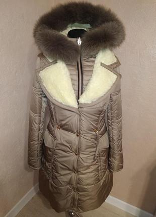 Стильная зимняя куртка парка с натуральным мехом 44-50р1