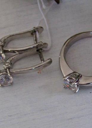 Серебряный гарнитур кольцо + серьги2