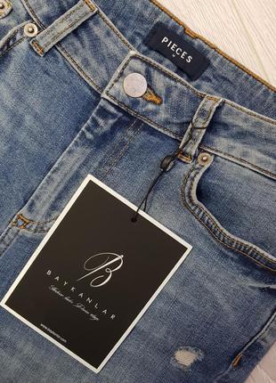 Джинсы pieces m,синие джинсы с обтрепаным низом,джинсы с необработанным низом4