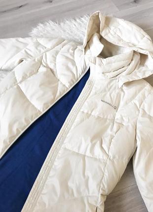 Белая спортивная зимняя куртка пуховик merrell m-l3