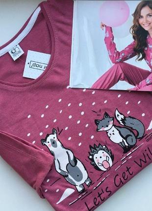Хлопковая пижама от dn малиновая2