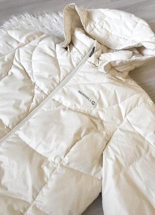 Белая спортивная зимняя куртка пуховик merrell m-l4
