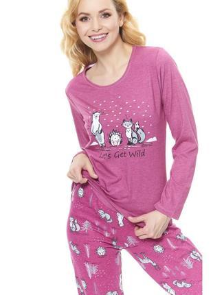 Хлопковая пижама от dn малиновая5