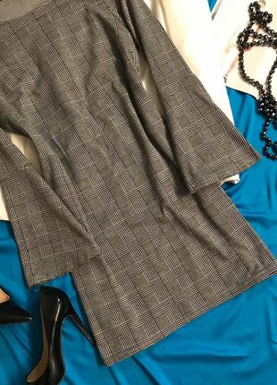Стильное серое  платье в клетку2