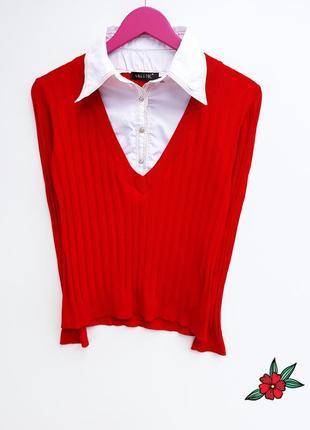 Бомбезный яркий свитер с рубашкой свитер джемпер1