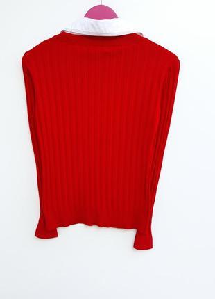 Бомбезный яркий свитер с рубашкой свитер джемпер2