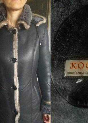 Натуральная кожаная черная дубленка с капюшоном, натуральный мех,зимнее пальто2