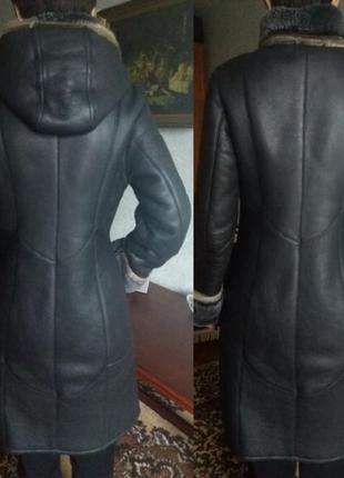 Натуральная кожаная черная дубленка с капюшоном, натуральный мех,зимнее пальто3