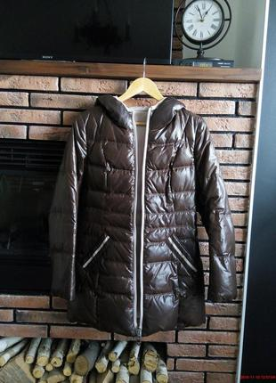 Пуховик женский пальто двусторонний коричневый бежевый куртка зима бойфренд