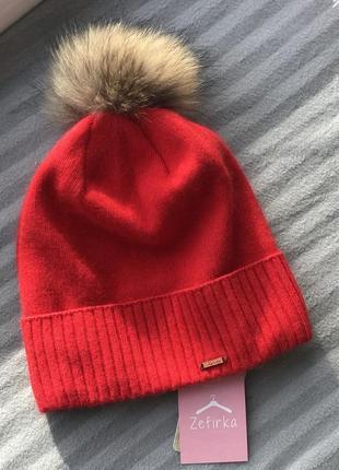 Утеплена шапка з натуральним хутряним кутасиком, червоний колір1