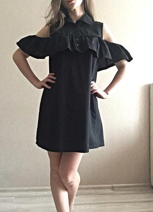 Объемное чёрное платье1