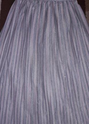 Шикарная пудровая юбка миди плиссе2