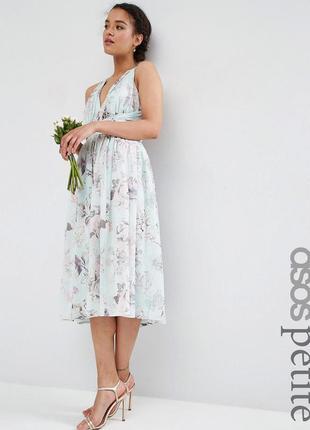 Платье миди с принтом роз asos petite1
