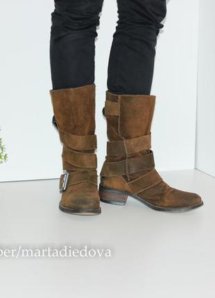 Замшевые сапоги полусапожки, натуральная замша, бренд spm shoes2