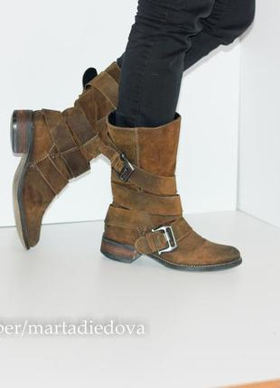 Замшевые сапоги полусапожки, натуральная замша, бренд spm shoes3