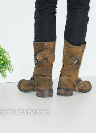Замшевые сапоги полусапожки, натуральная замша, бренд spm shoes4