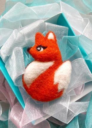 Роскошная войлочная брошь лисичка брошка лиса лисица значок валяние1