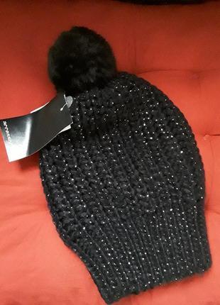 Распродажа! стильная шапка бини с помпоном1