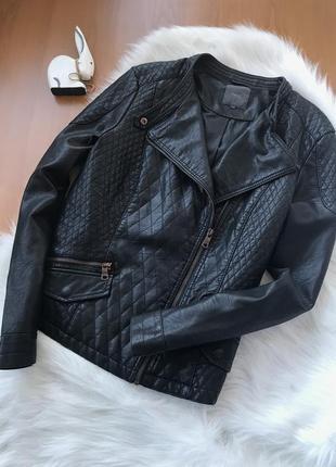 Крутейшая стеганая косуха куртка черная от next размер m-l1