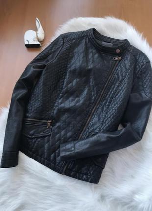 Крутейшая стеганая косуха куртка черная от next размер m-l2