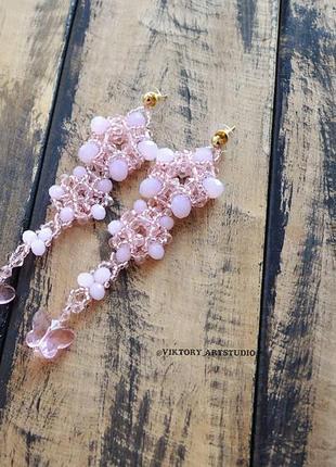 Вечерние нарядные длинные серьги грозди нежно-розовые.2