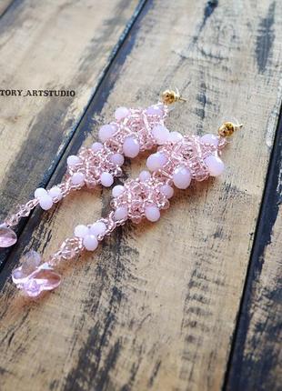 Вечерние нарядные длинные серьги грозди нежно-розовые.3