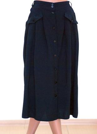 Новая чёрная юбка миди с карманами плиссе на пуговичках актуальная под свитера и блузку1