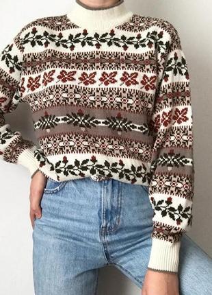 Теплый свитер в орнамент размер s1