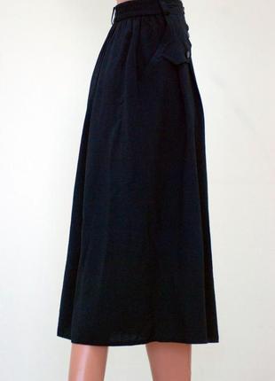 Новая чёрная юбка миди с карманами плиссе на пуговичках актуальная под свитера и блузку4