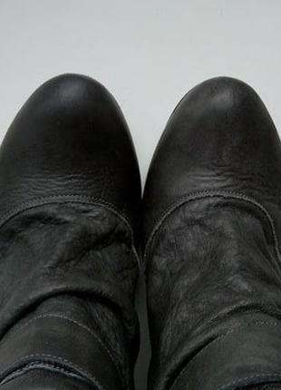 Серые кожаные сапоги с пряжками высокие faith4